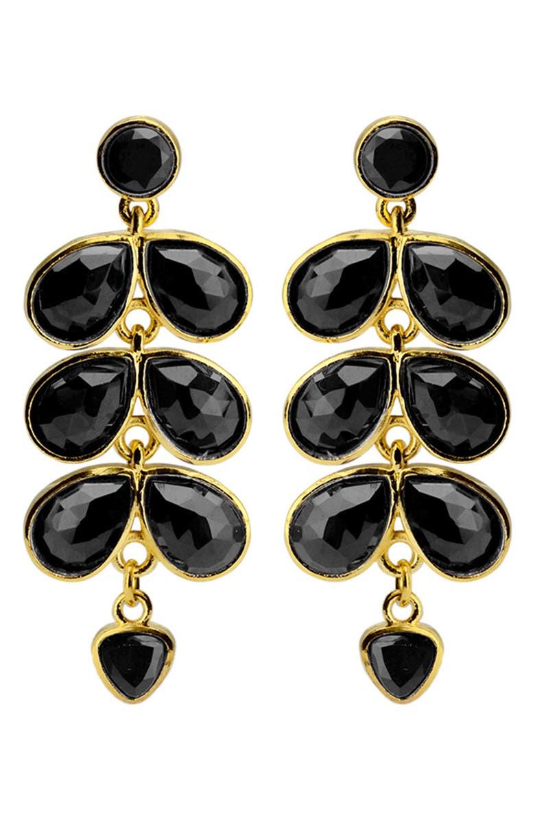 KAREN LONDON Cloris Drop Earrings, Main, color, BLACK