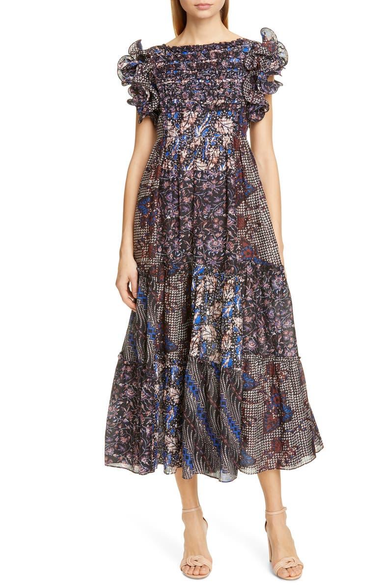 ULLA JOHNSON Zoya Ruffle Trim Ikat Midi Dress, Main, color, 400