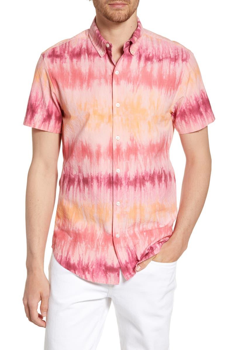 BONOBOS Riviera Slim Fit Print Sport Shirt, Main, color, BOLD TIE DYE