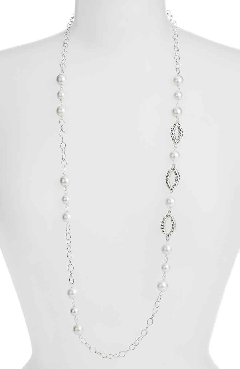 SIMON SEBBAG Silver Accent Long Chain, Main, color, WHITE