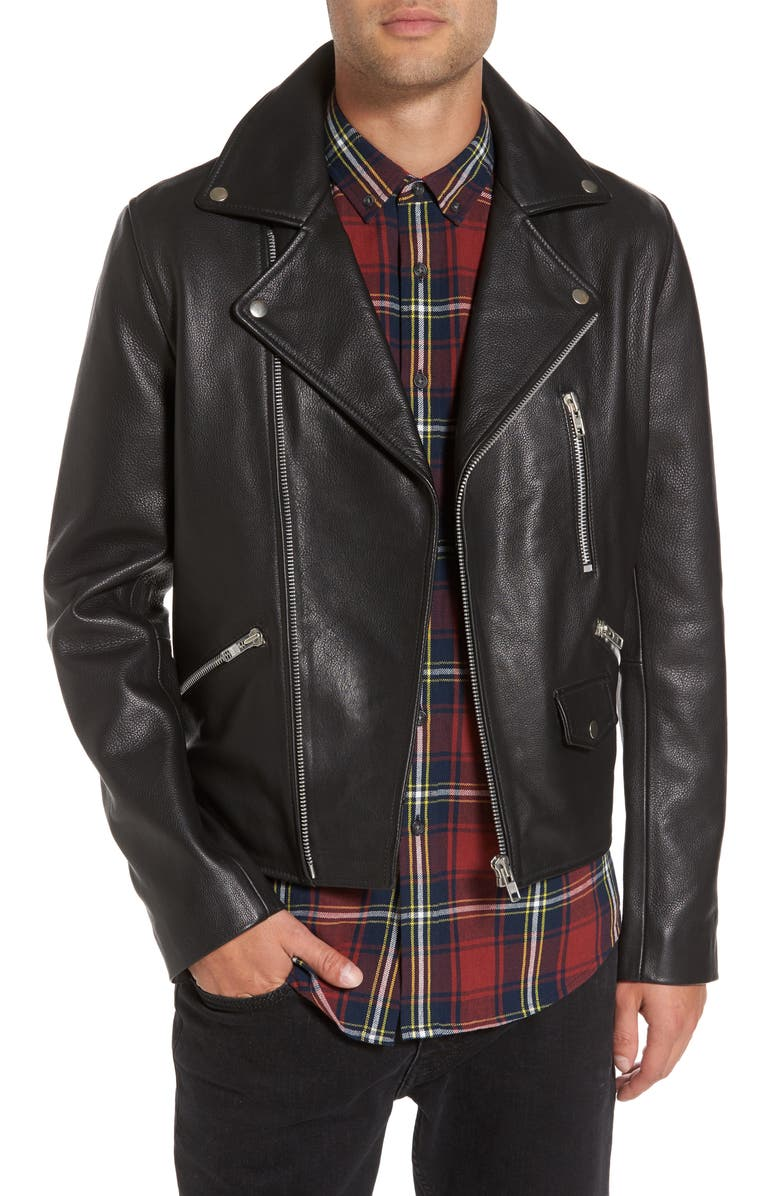 TOPMAN Staines Leather Moto Jacket, Main, color, 001
