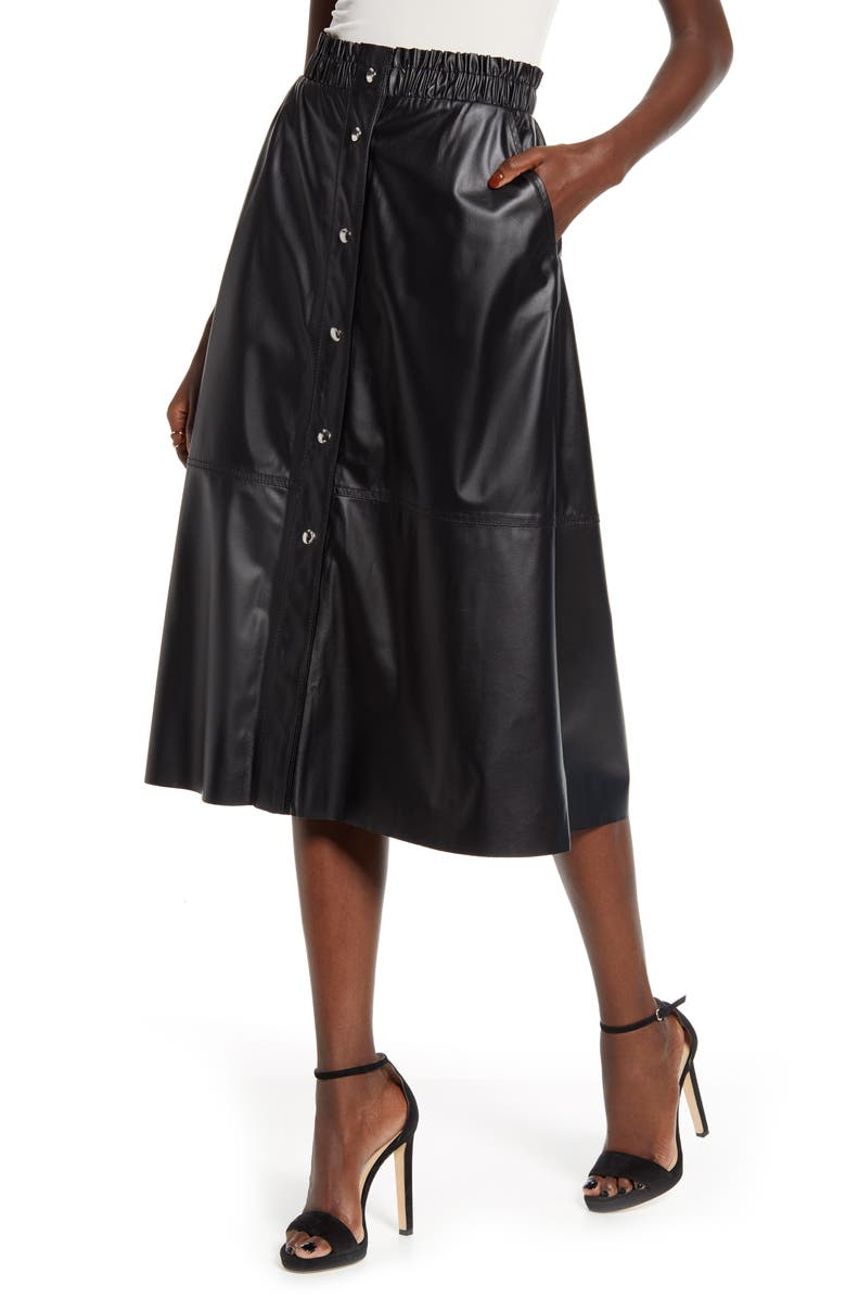 BLANKNYC Snap Front Faux Leather Midi Skirt, Main, color, ONYX