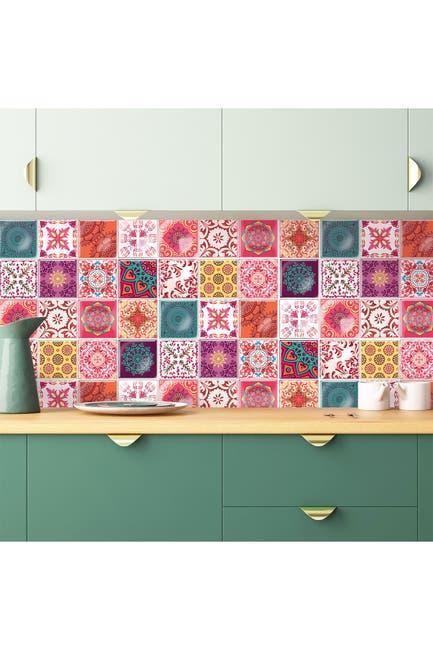 Image of WalPlus Moroccan Rose Mandala Glossy 3D Tile Stickers - 15cm x 15cm