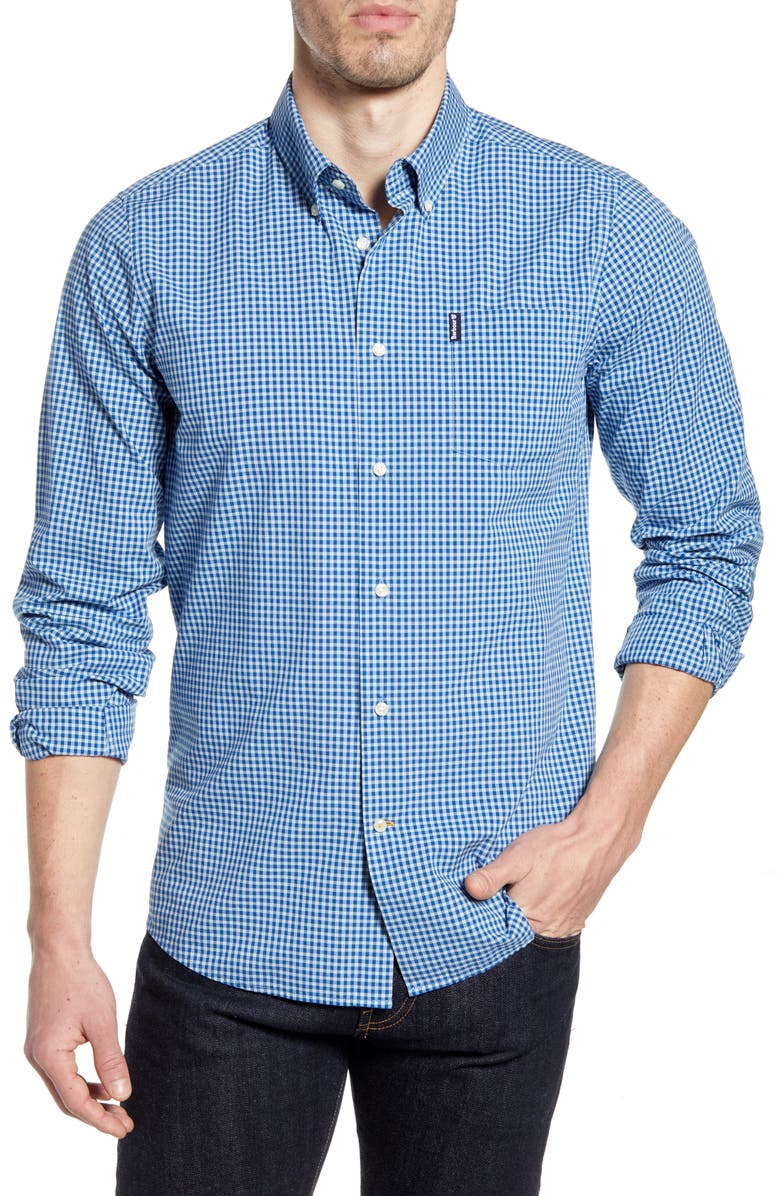 BARBOUR Gingham 19 Tailored Fit Button-Up Shirt, Main, color, 410