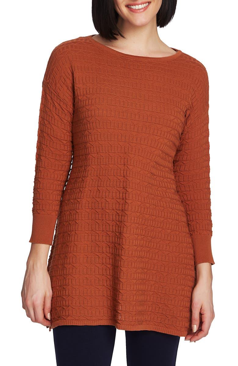 CHAUS Texture Stitch Tunic Sweater, Main, color, BURNT CARAMEL