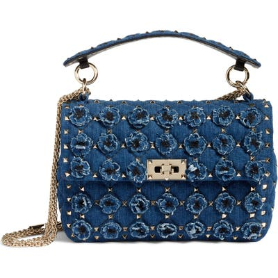 Valentino Garavani Spike It Medium Denim Shoulder Bag - Blue