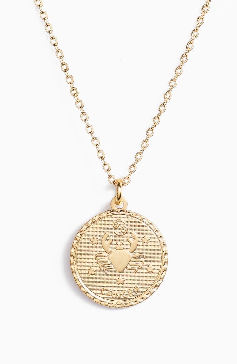 TEN79LA Zodiac Coin Pendant Necklace, Main, color, GOLD-CANCER