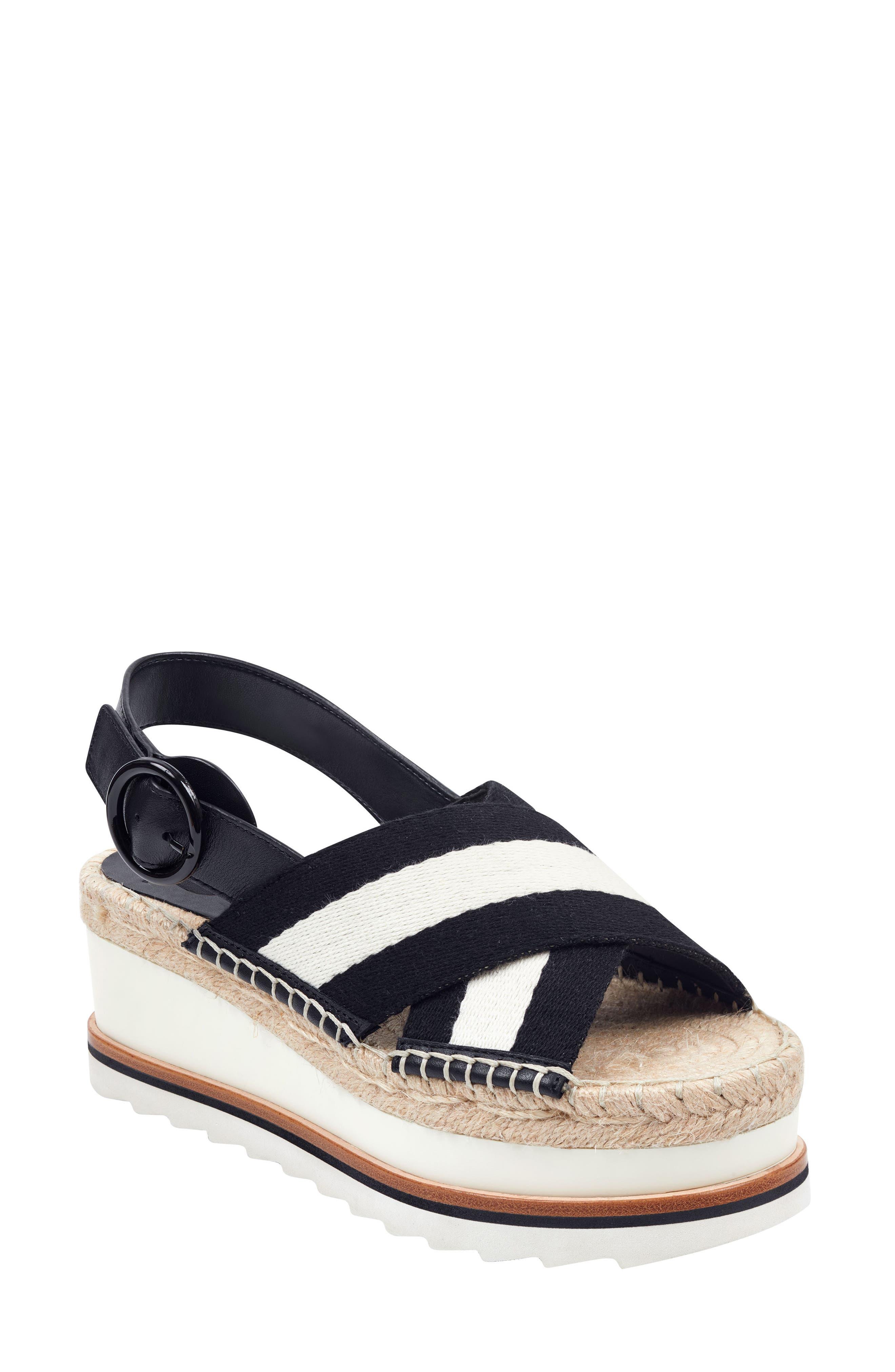Marc Fisher Ltd Glenna Platform Slingback Sandal- Black