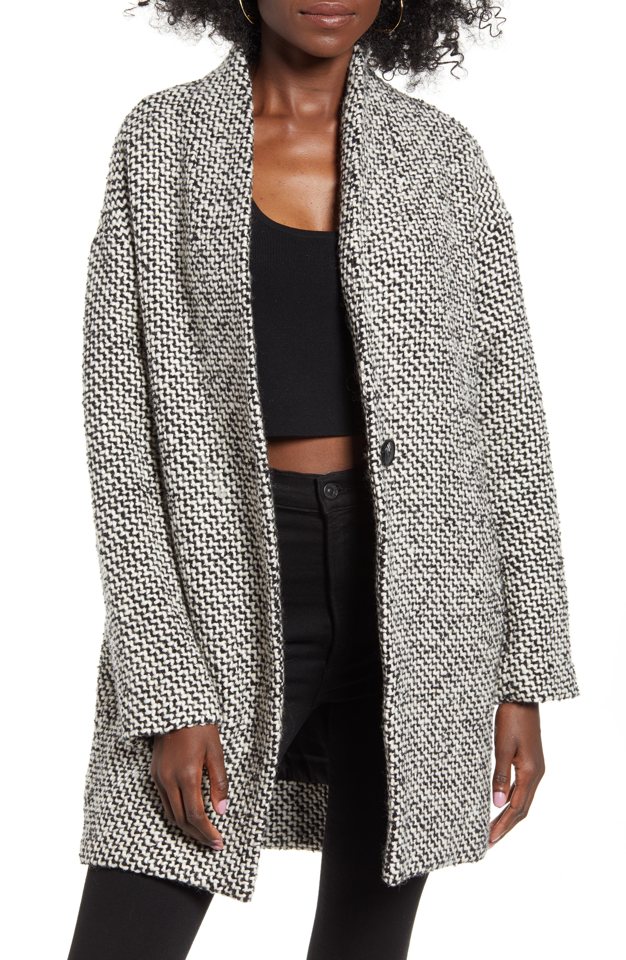 BLANKNYC Say Anything Tweed Coat