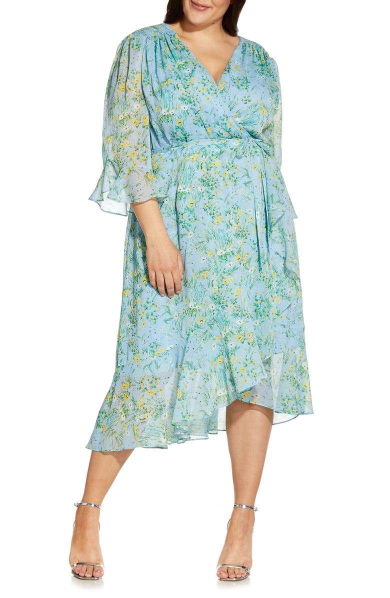 ADRIANNA PAPELL Ditsy Floral Ruffle Chiffon Dress, Main, color, BLUE MULTI