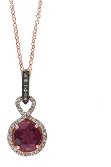 Image of Effy 14K Rose Gold Rhodolite Pave Diamond Pendant Necklace