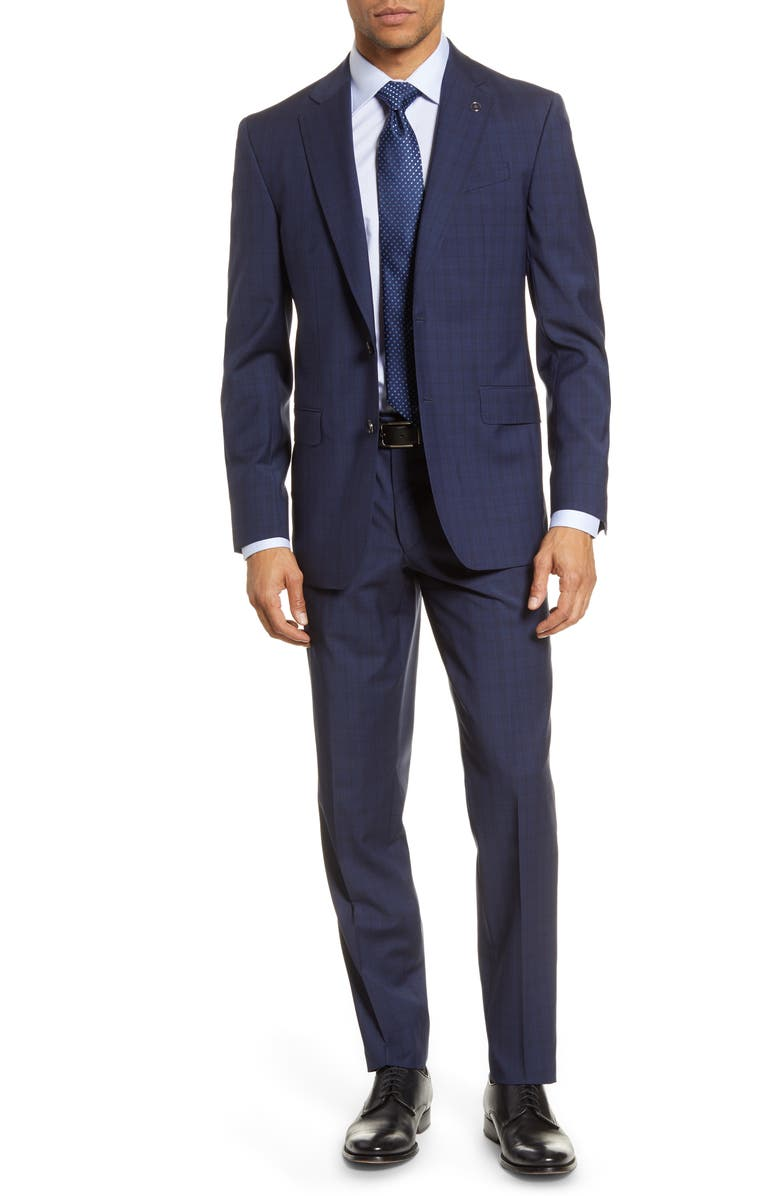TED BAKER LONDON Jay Trim Fit Plaid Wool Suit, Main, color, NAVY