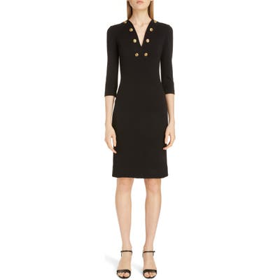 Givenchy Button Detail Jersey Sheath Dress, 6 FR - Black