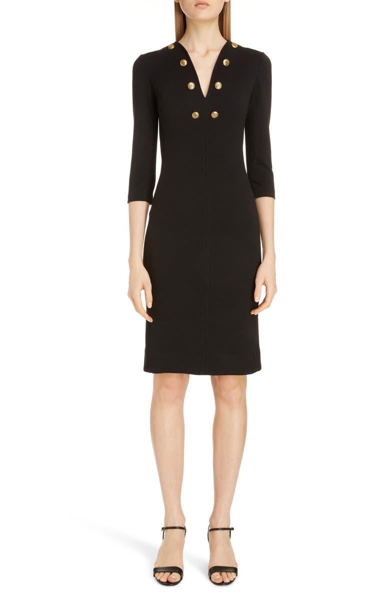 GIVENCHY Button Detail Jersey Sheath Dress, Main, color, BLACK