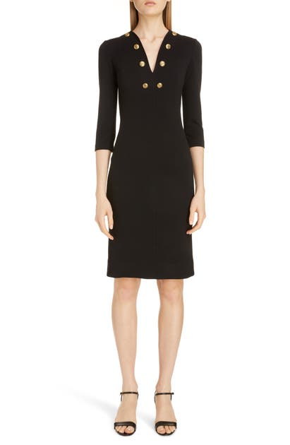 Givenchy Dresses BUTTON DETAIL JERSEY SHEATH DRESS