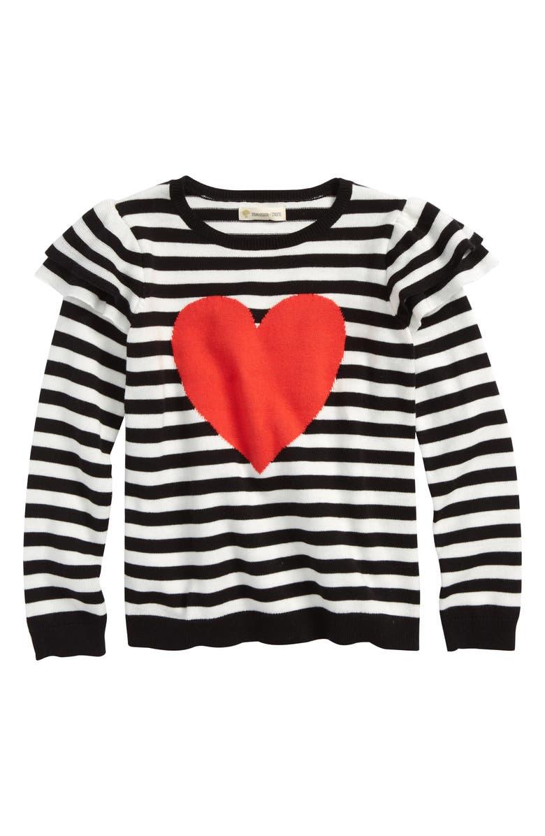 TUCKER + TATE Ruffle Icon Sweater, Main, color, 001