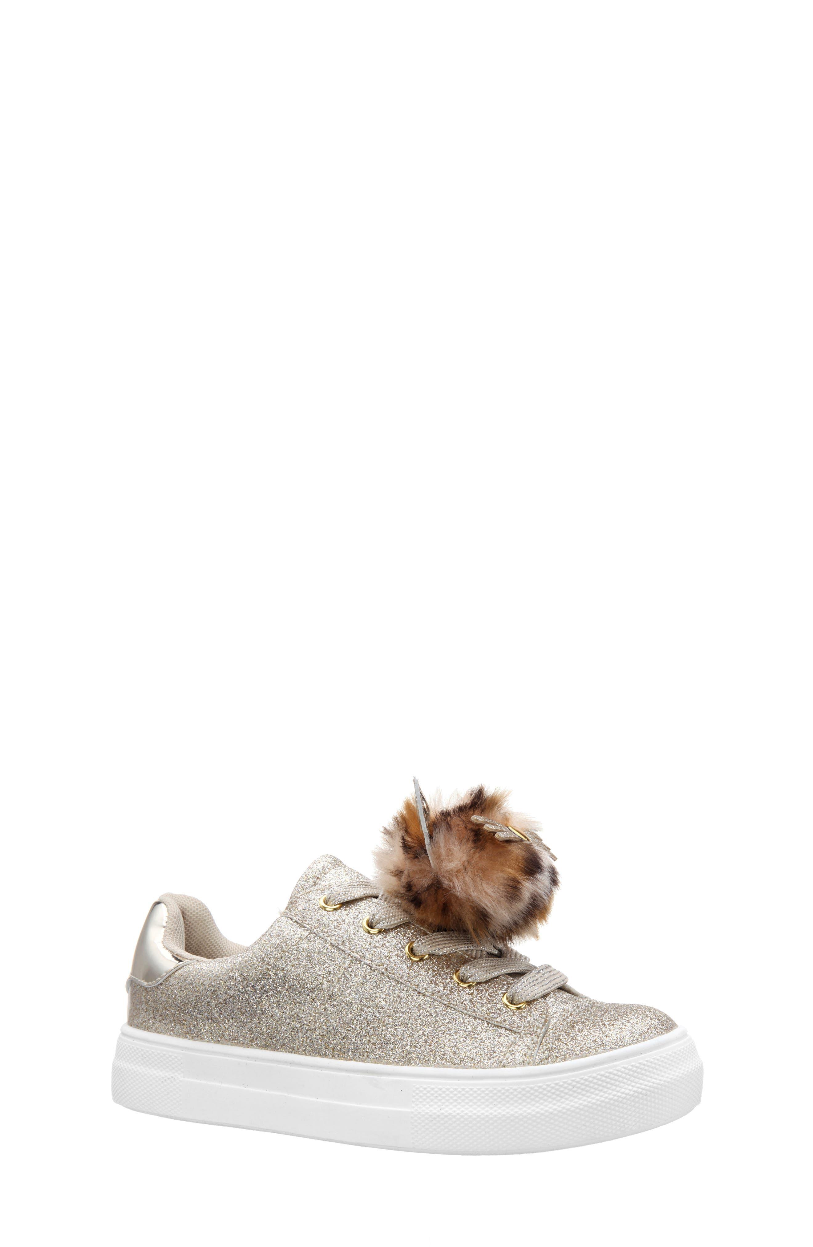 Toddler Girls Nina Britteni Animal Pompom Glitter Sneaker Size 11 M  Metallic