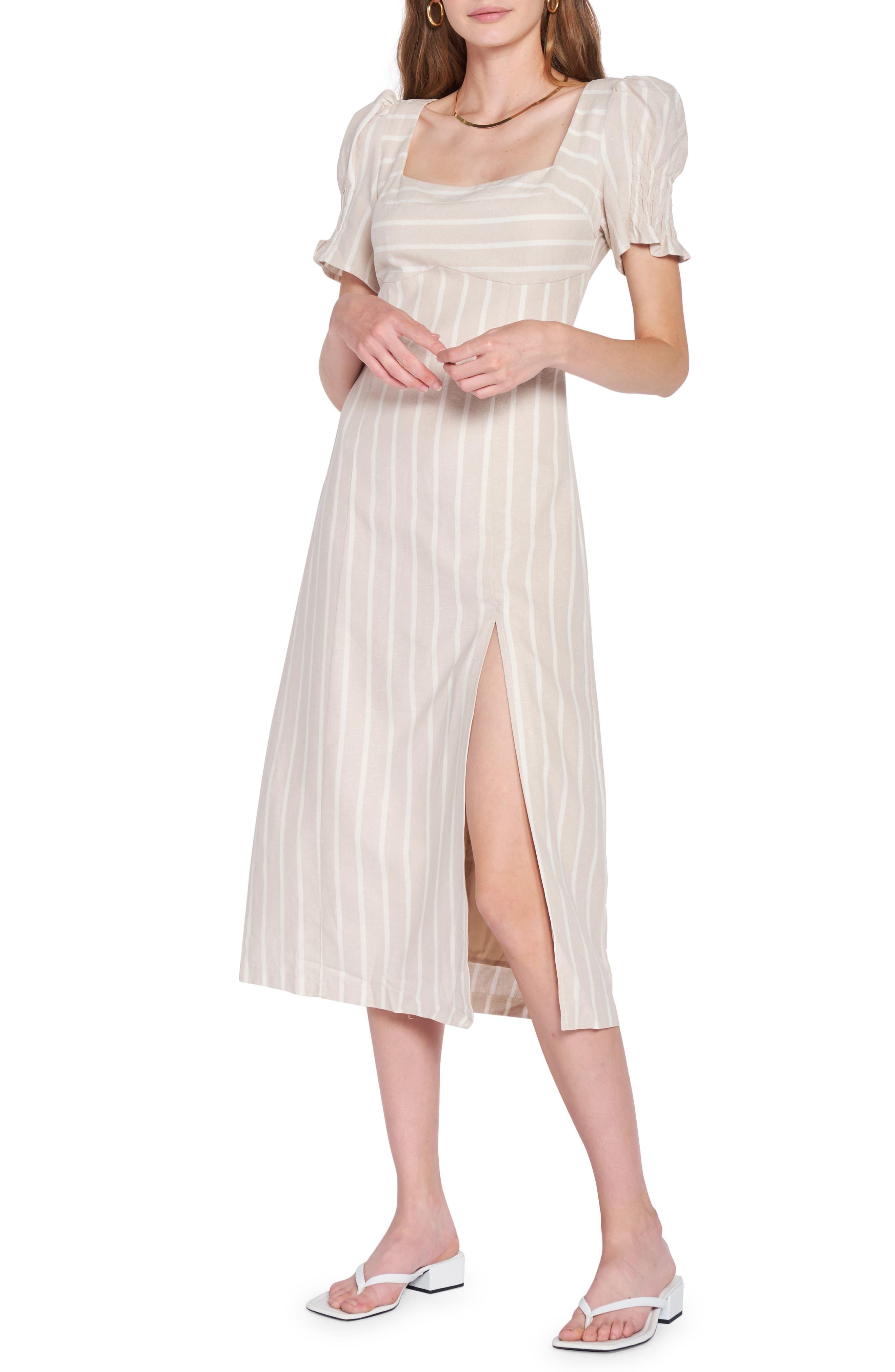 Stripe Linen Blend Midi Dress