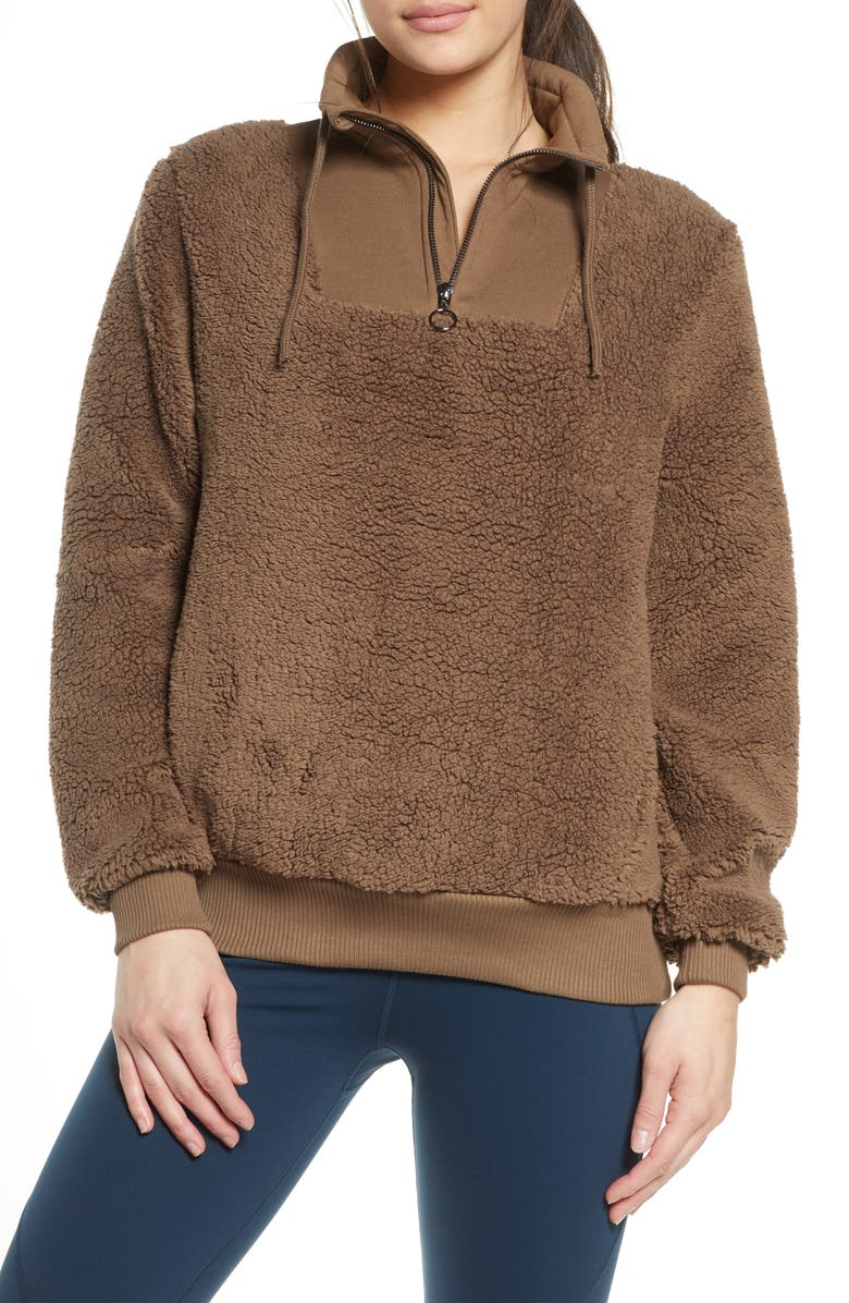 SWEATY BETTY Faux Shearling Quarter Zip Pullover, Main, color, DARK TAUPE