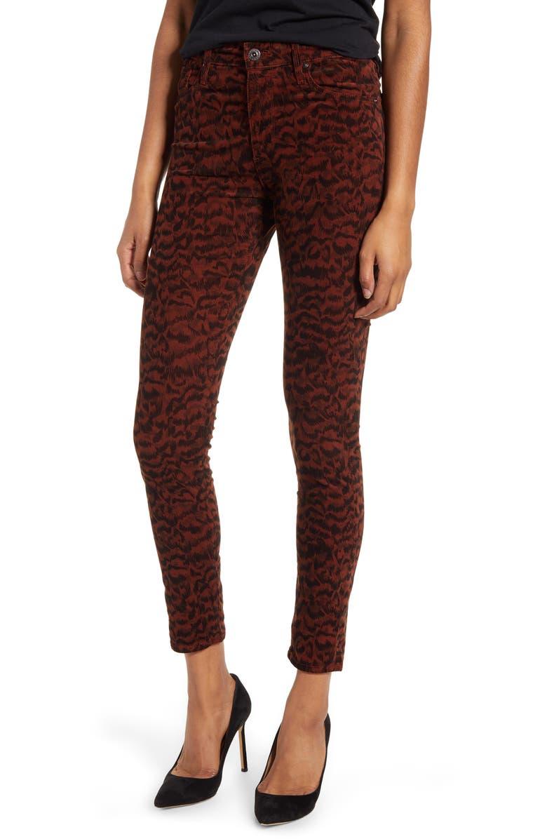 AG Farrah Skinny Ankle Jeans, Main, color, SHADOW A-RICH CRIMSON/ BLACK