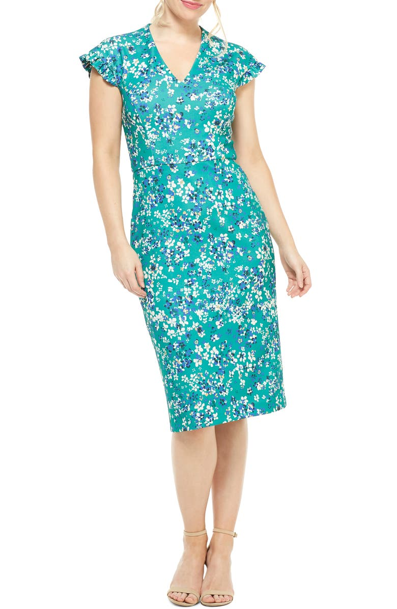 MAGGY LONDON Ruffle Sleeve Floral Scuba Sheath Dress, Main, color, 440