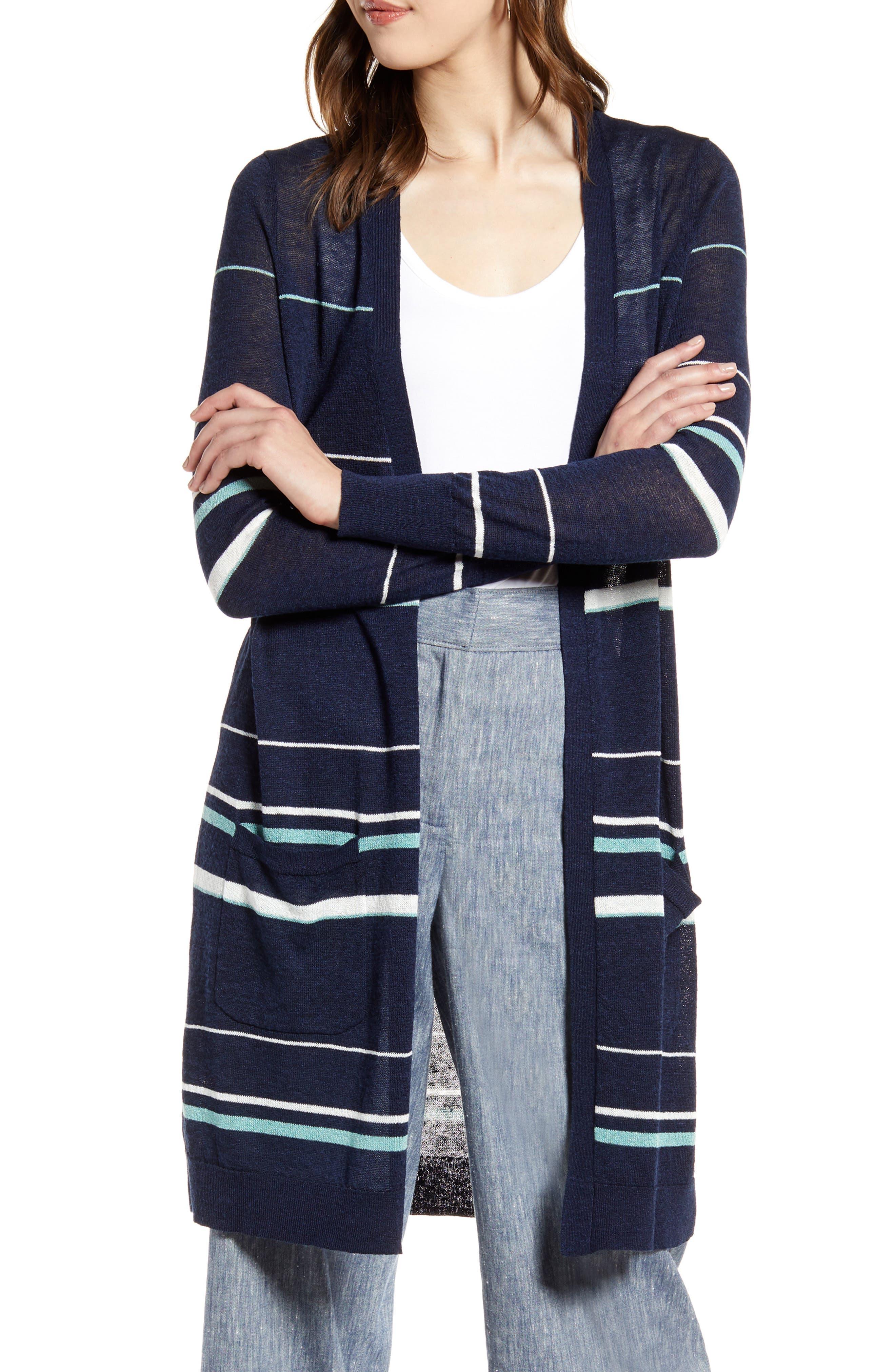Halogen® Long Linen Blend Cardigan (Regular & Petite)