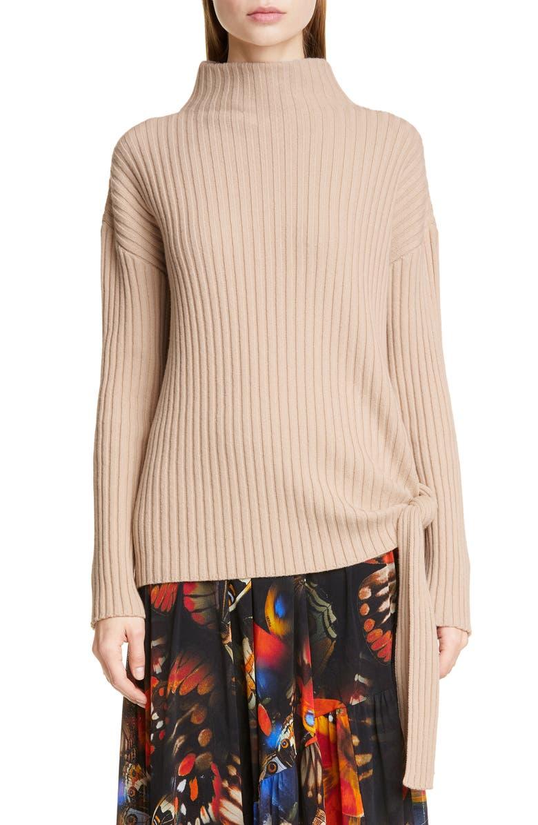 FUZZI Tie Hem Wool, Silk & Cashmere Sweater, Main, color, TUBEROSA