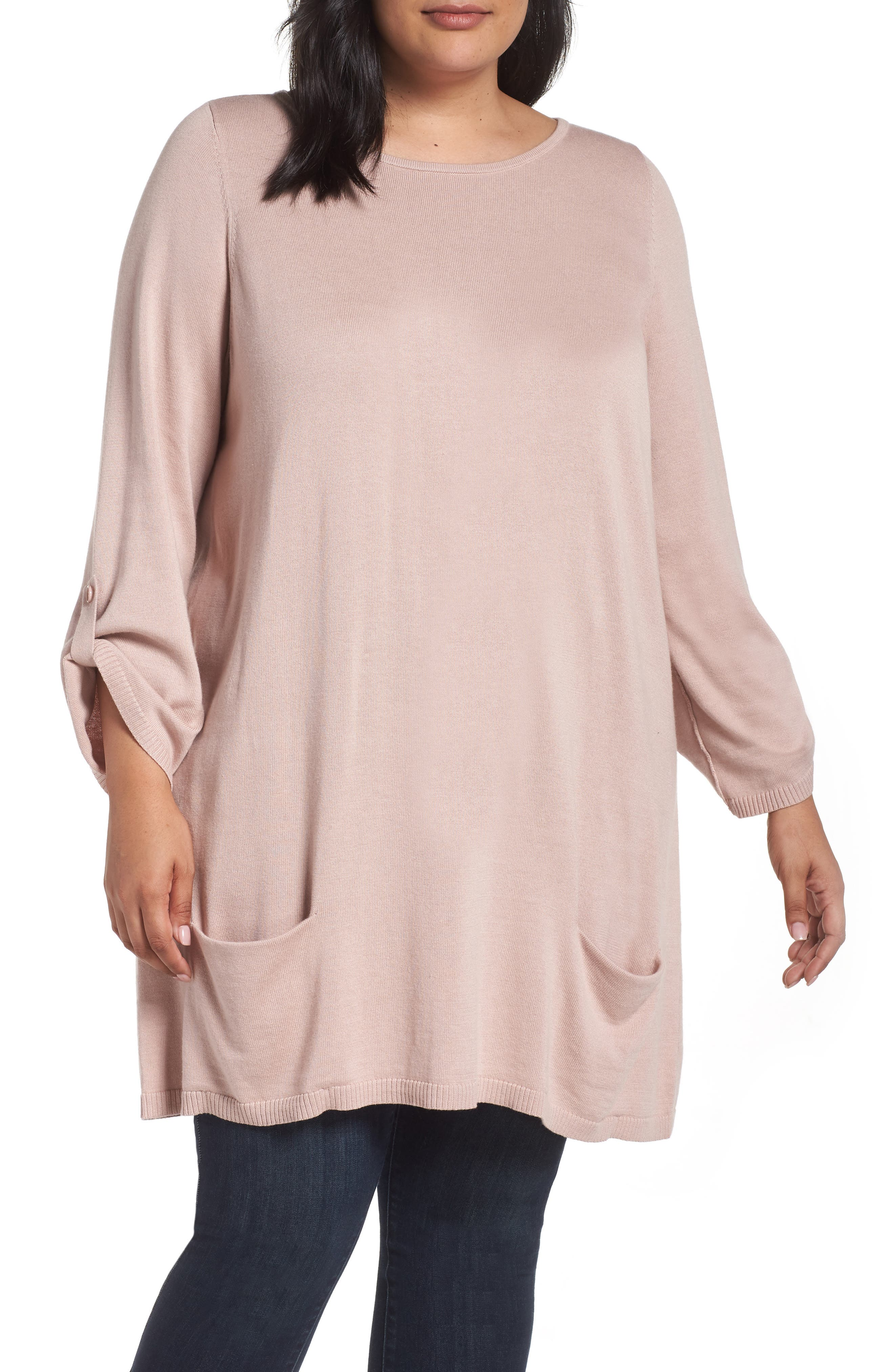 ,                             Roll Sleeve Tunic Sweater,                             Main thumbnail 1, color,                             PINK ADOBE