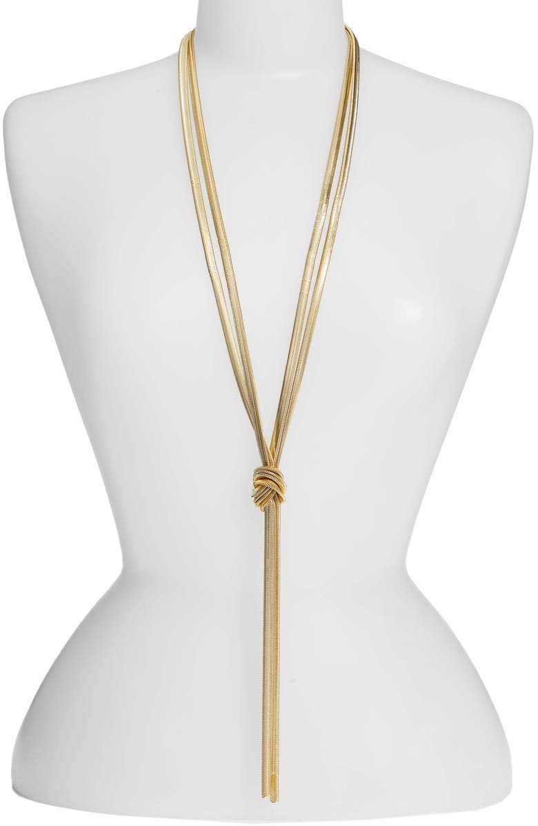 LISA FREEDE Cooper Knot Lariat Necklace, Main, color, GOLD