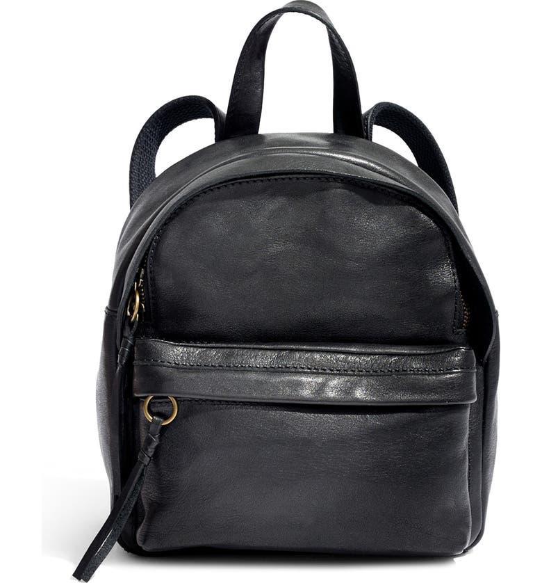 MADEWELL Mini Lorimer Leather Backpack, Main, color, TRUE BLACK
