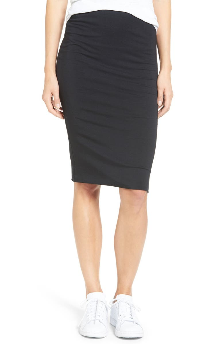 AMOUR VERT 'Yuma' Stretch Knit Skirt, Main, color, BLACK