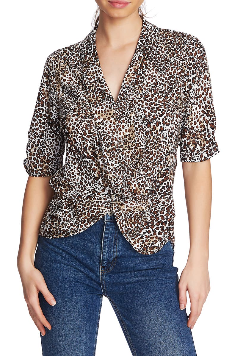 1 STATE Animal Print Twist Front Blouse