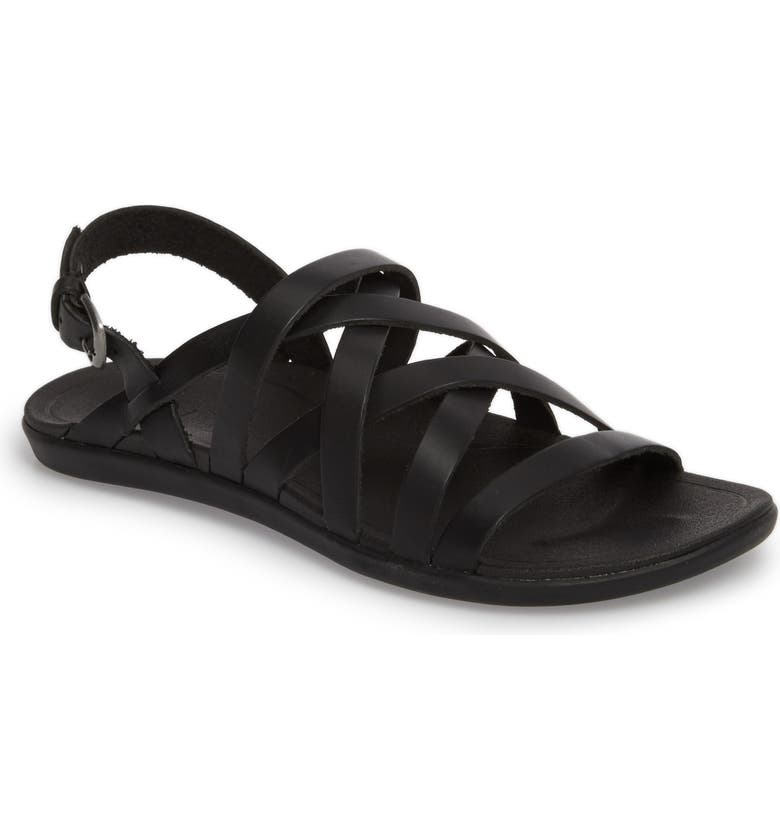 OLUKAI 'Awe'Awe Sandal, Main, color, BLACK/ BLACK LEATHER