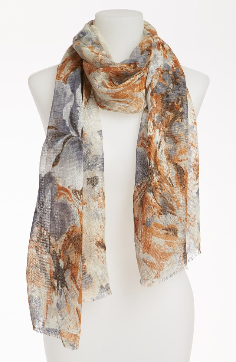 NORDSTROM 'Iris' Linen Scarf, Main, color, 020