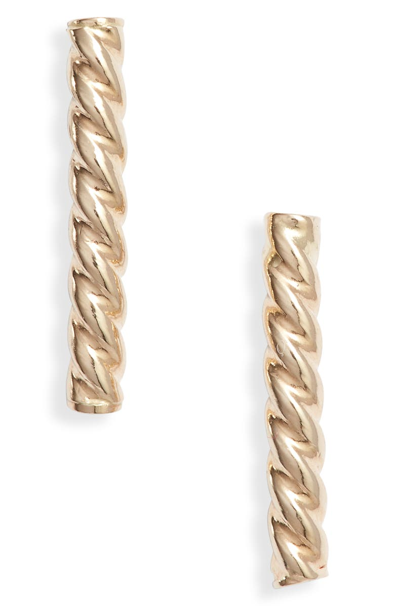 BONY LEVY Twisted Bar Stud Earrings, Main, color, YELLOW GOLD