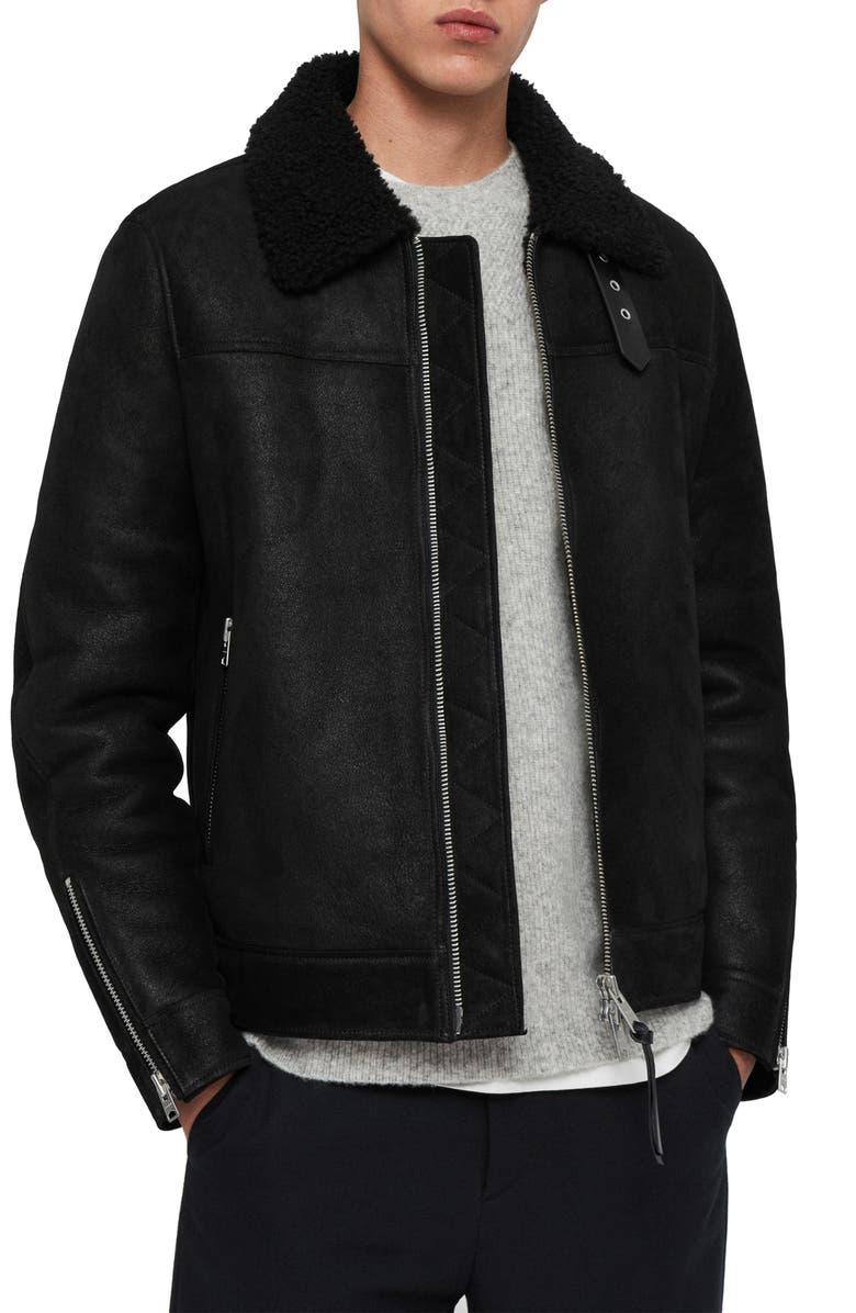 ALLSAINTS Gunstor Genuine Shearling Jacket, Main, color, 001