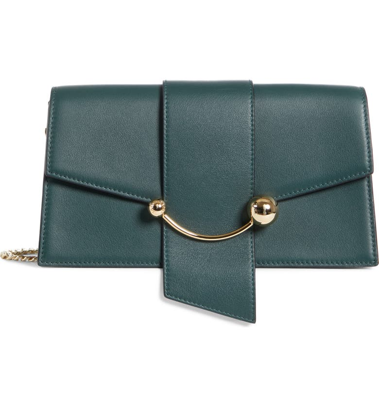 STRATHBERRY Mini Crescent Leather Clutch, Main, color, BOTTLE GREEN