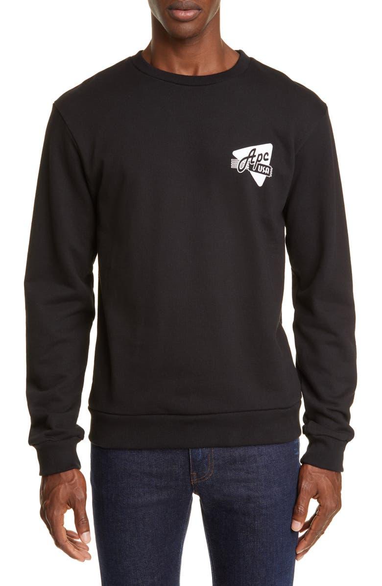 A.P.C. Abe Crewneck Sweatshirt, Main, color, LZZ NOIR