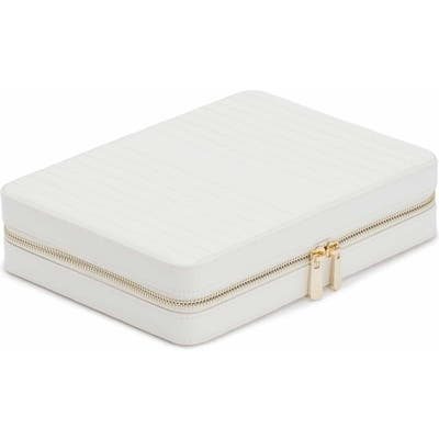 Wolf Large Maria Zip Jewelry Case - White