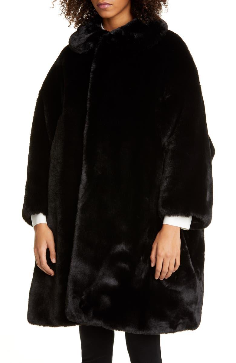COMME DES GARÇONS Oversize Faux Fur Coat, Main, color, BLACK