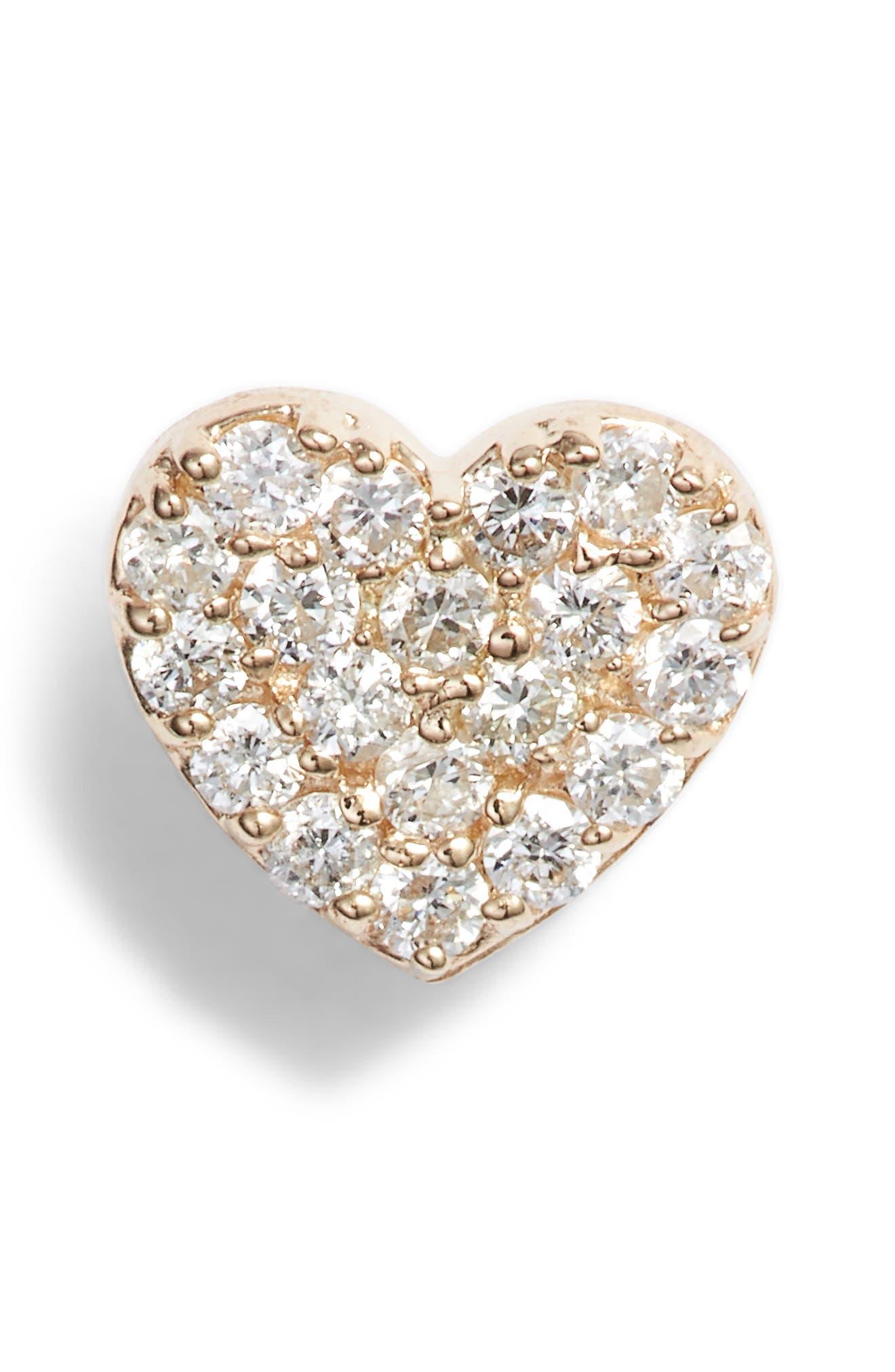 Pave Diamond Single Heart Stud Earring