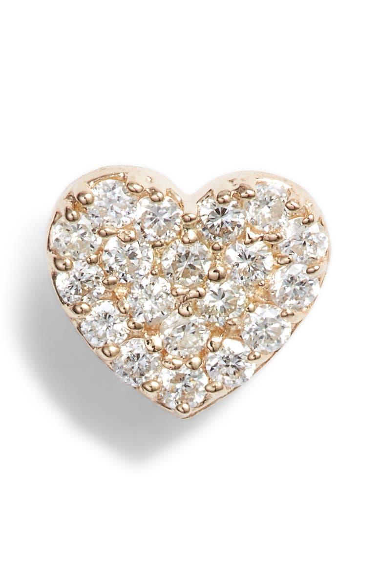 ANZIE Pavé Diamond Single Heart Stud Earring, Main, color, GOLD/ DIAMOND