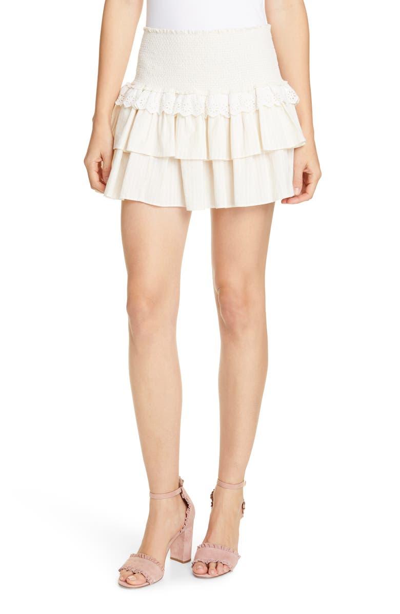 LOVESHACKFANCY Dana Eyelet Detail Ruffle Cotton Skirt, Main, color, FAWN