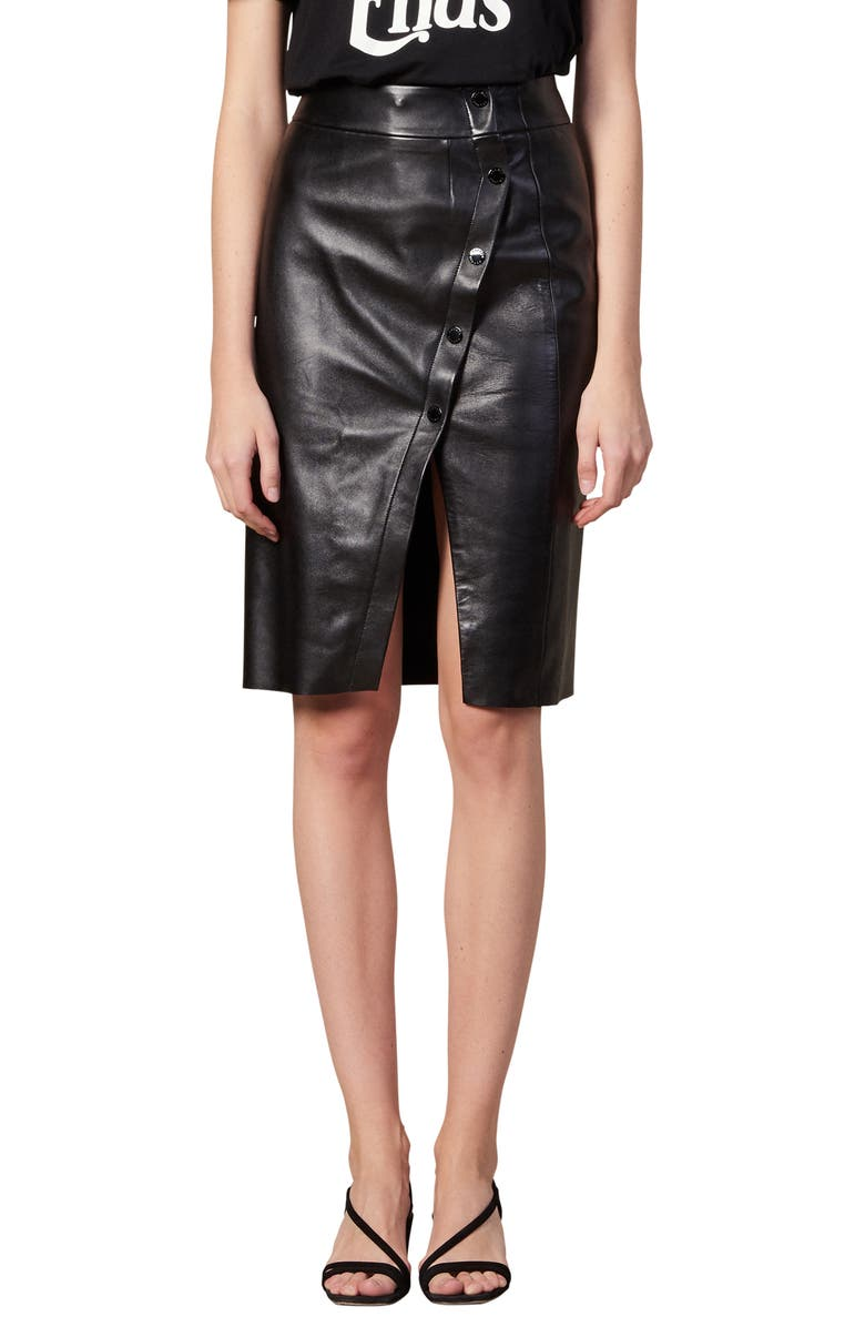SANDRO Gilna Snap Leather Skirt, Main, color, 001