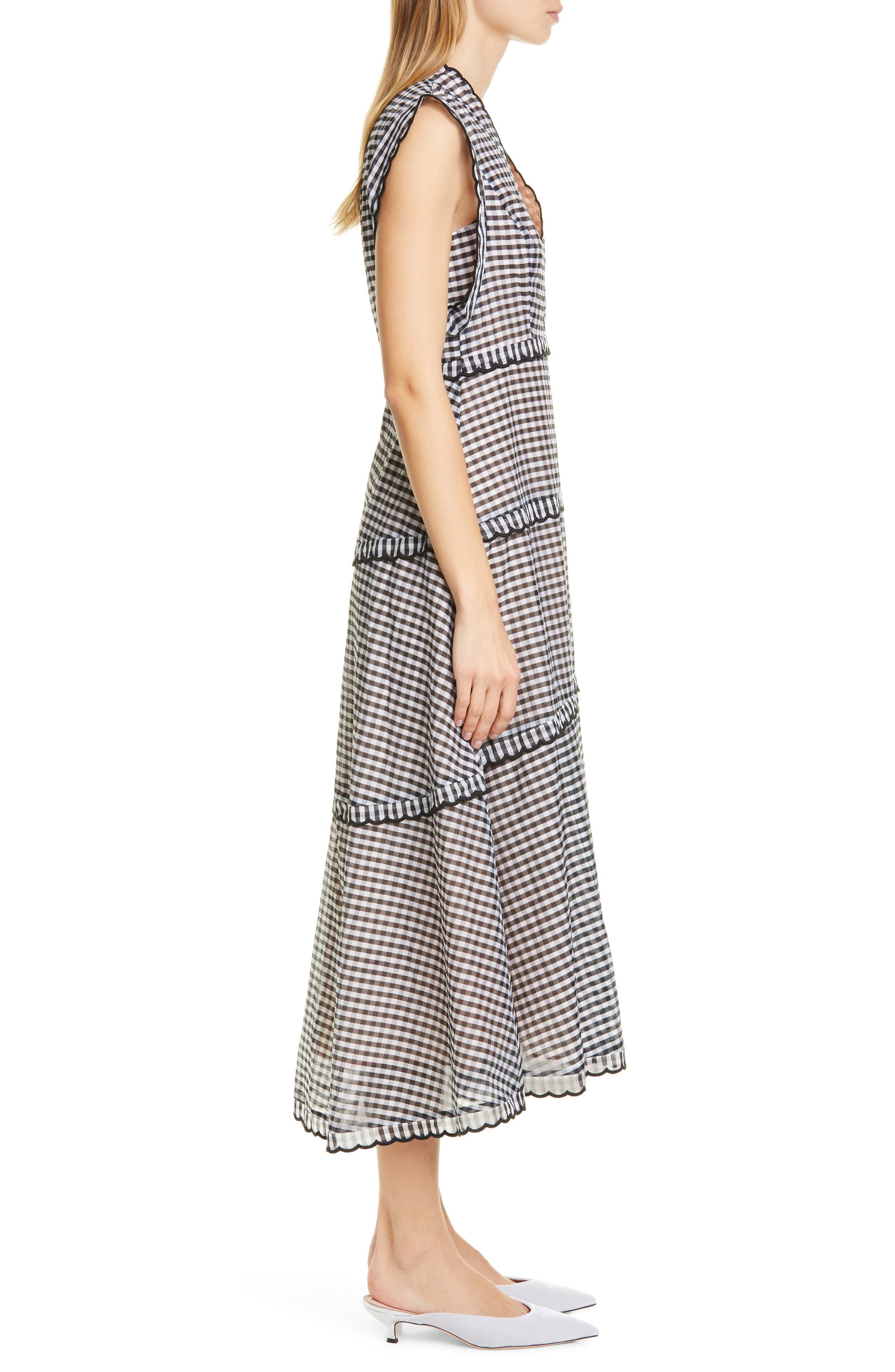 ,                             gingham midi dress,                             Alternate thumbnail 4, color,                             BLACK/ CREAM