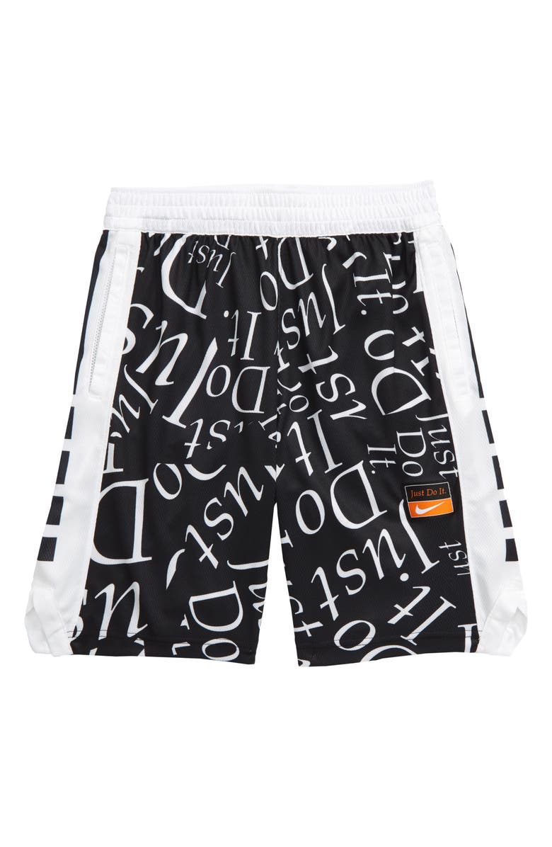 NIKE Dri-FIT Elite Energy Basketball Shorts, Main, color, BLACK/ WHITE