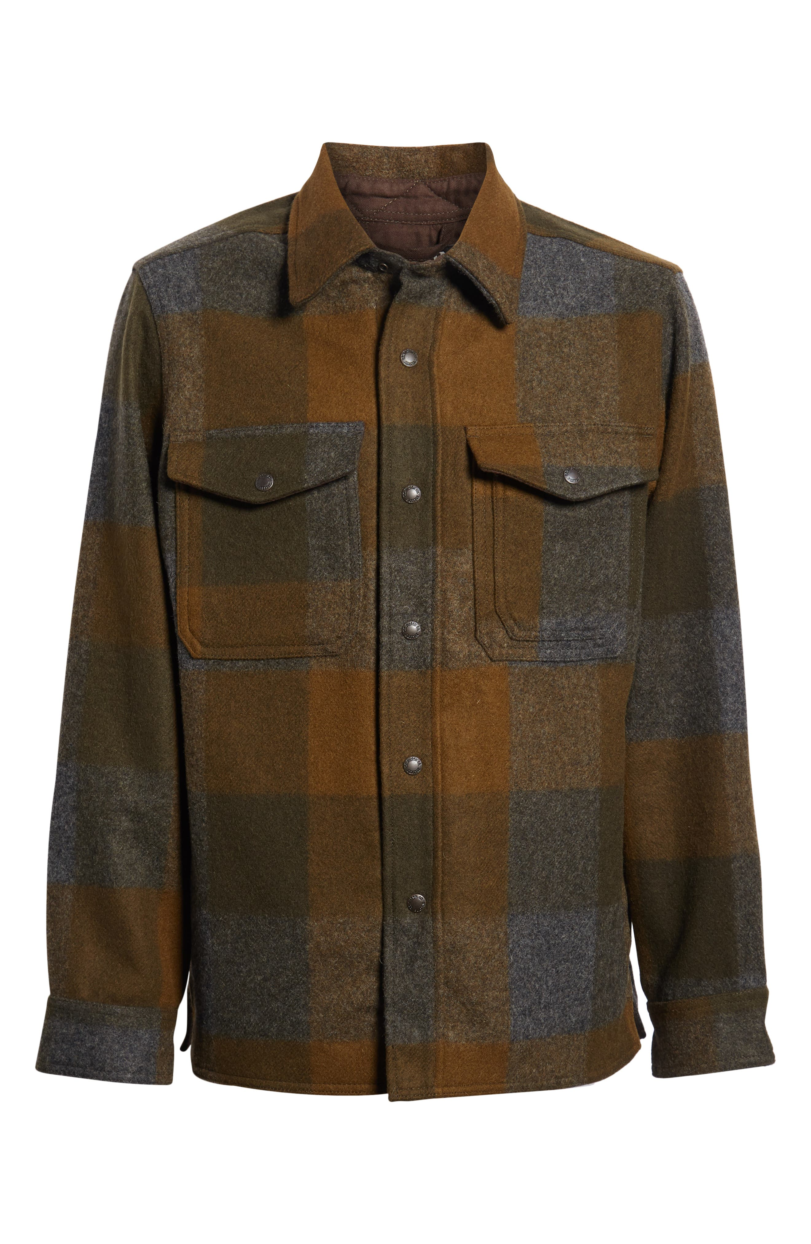 ,                             Mackinaw Plaid Wool Flannel Shirt Jacket,                             Alternate thumbnail 7, color,                             DKMIL