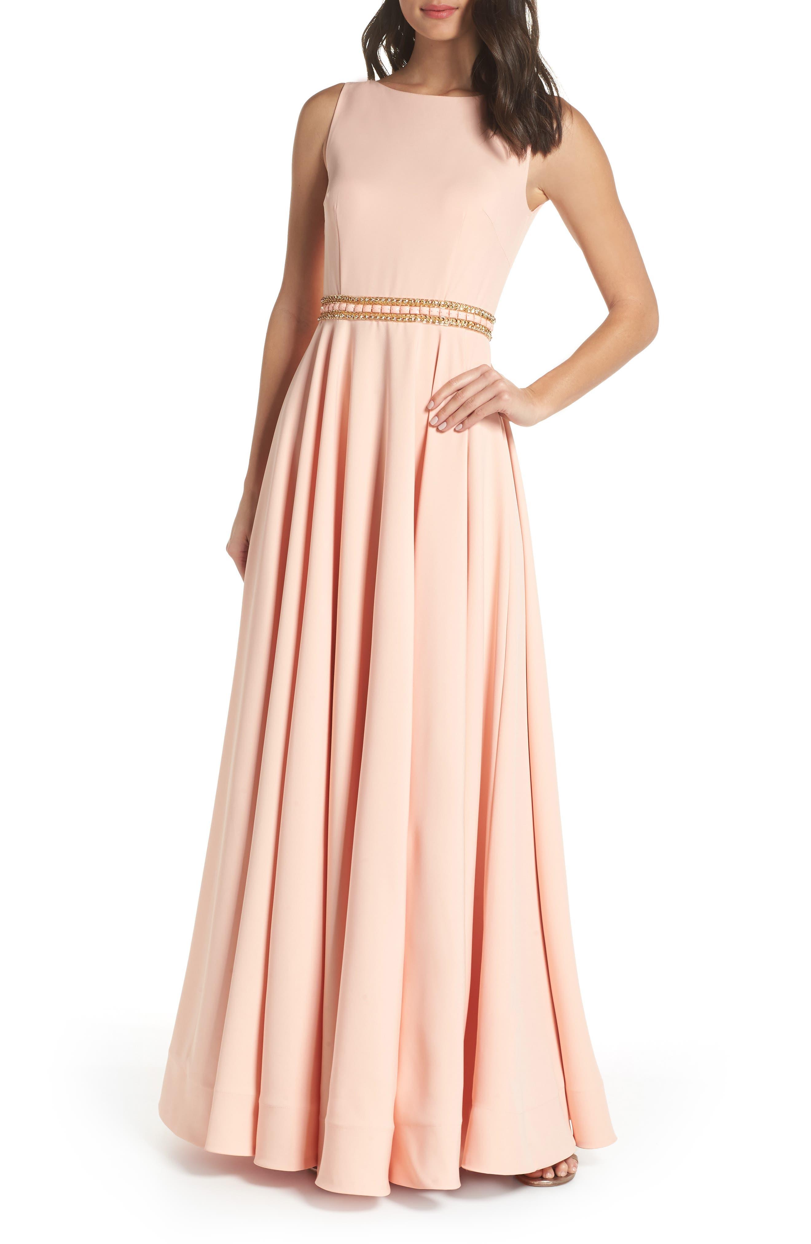 MAC Duggal Beaded Waist Gown, Pink