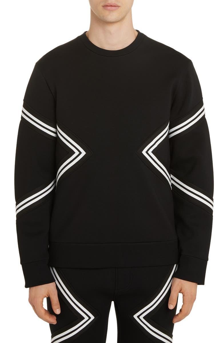 NEIL BARRETT Band Trimmed Sweatshirt, Main, color, BLACK