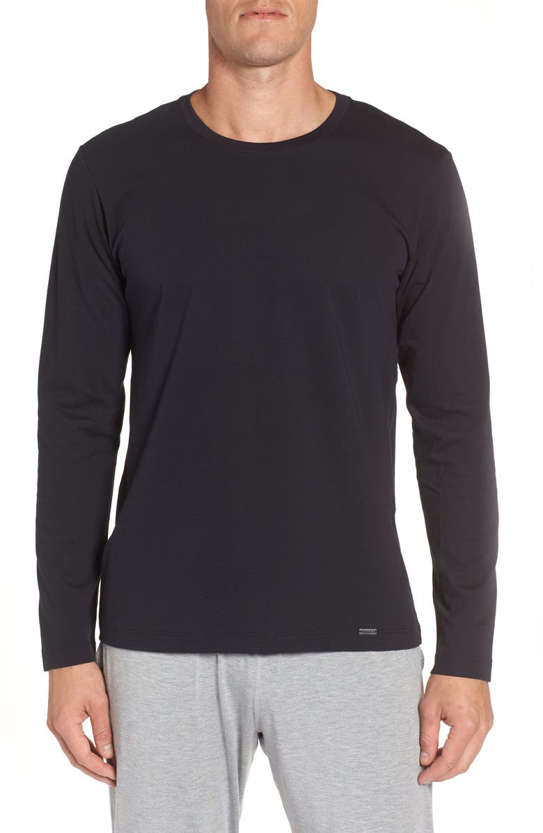 HANRO Living Long Sleeve T-Shirt, Main, color, BLACK